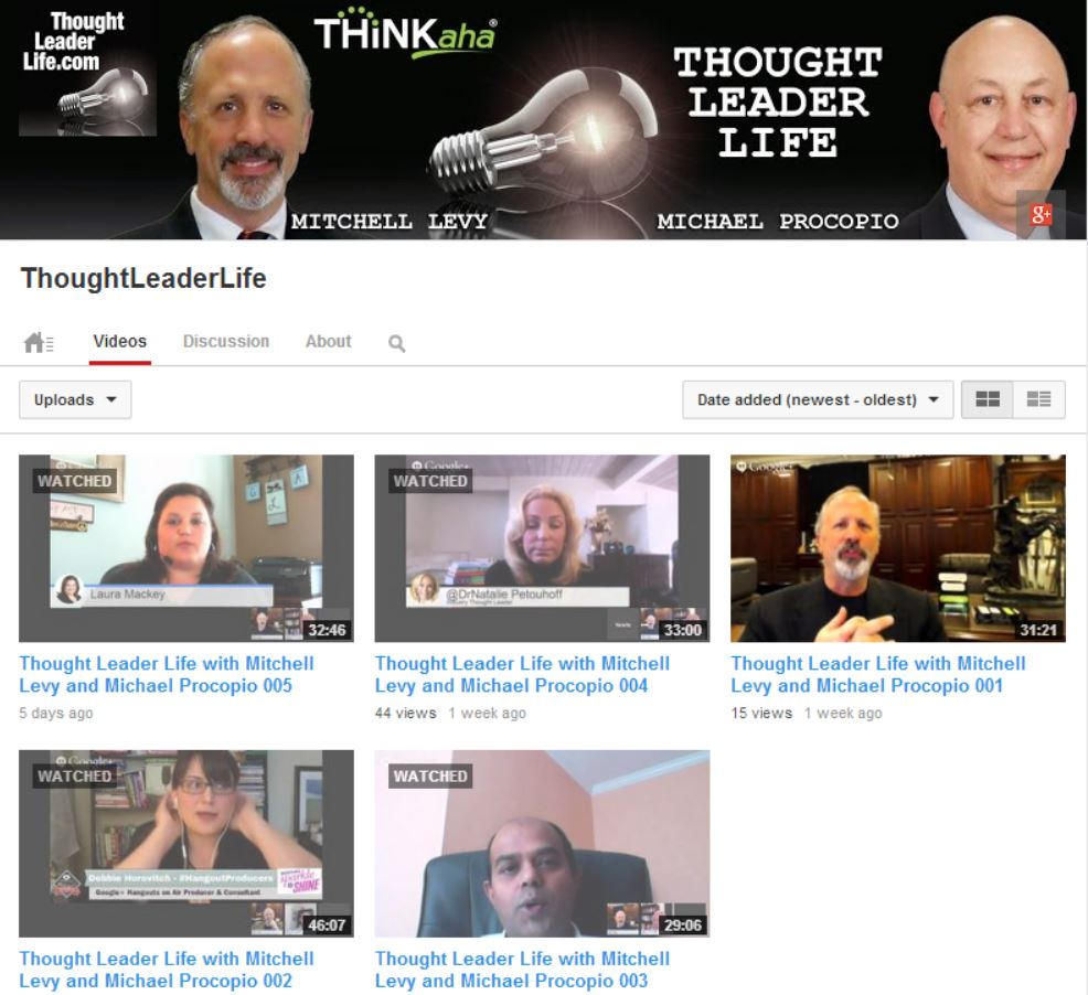 Thought Leader Life YouTube Account